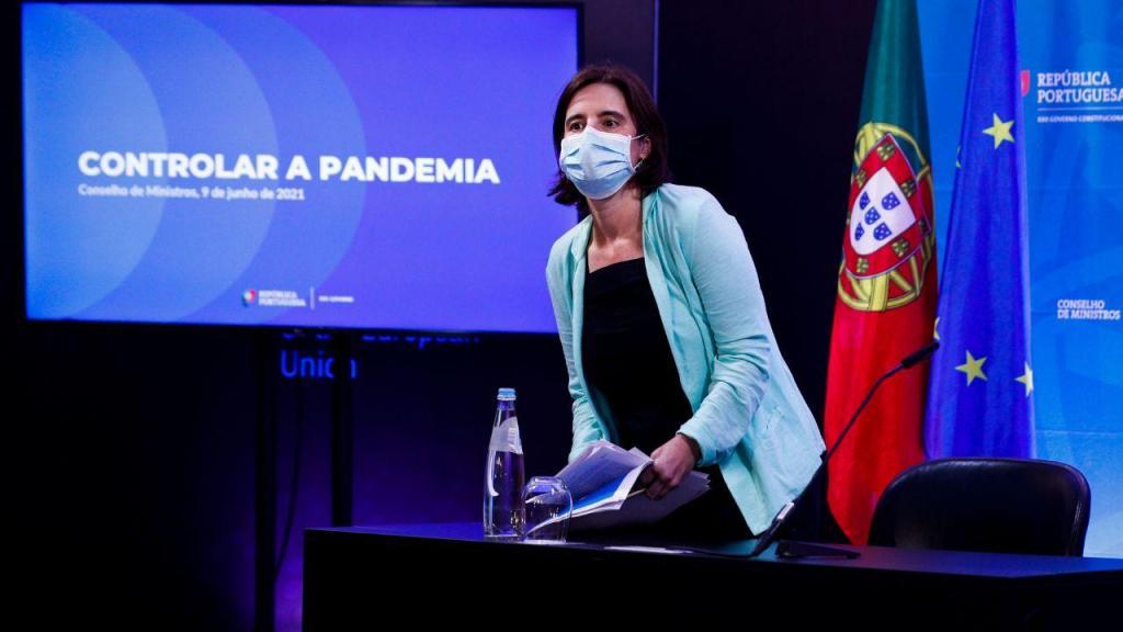 Mariana Vieira da Silva na conferência de imprensa no final da reunião do Conselho de Ministros