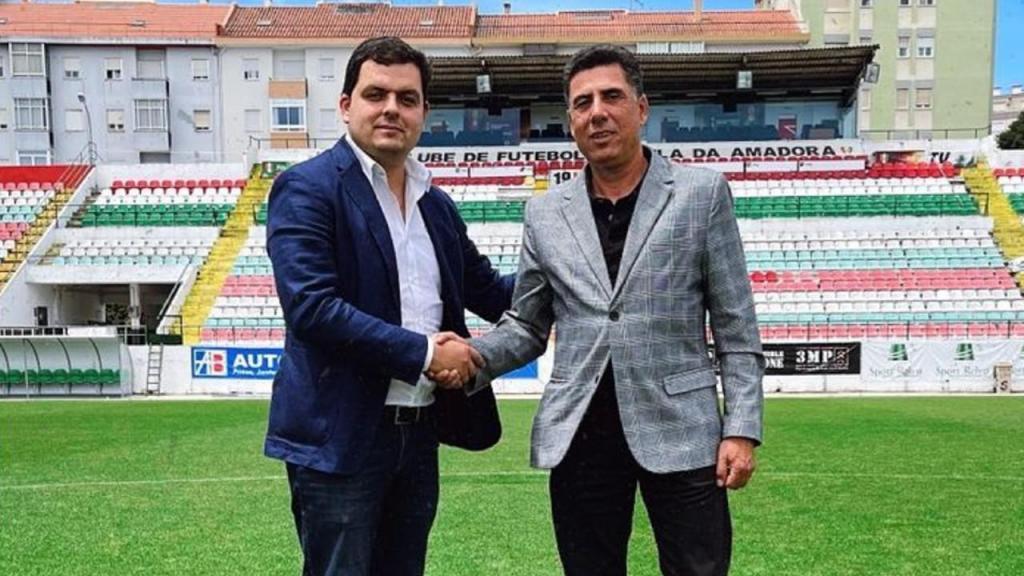 André Geraldes e o treinador Rui Santos (Estrela da Amadora SAD - Facebook)