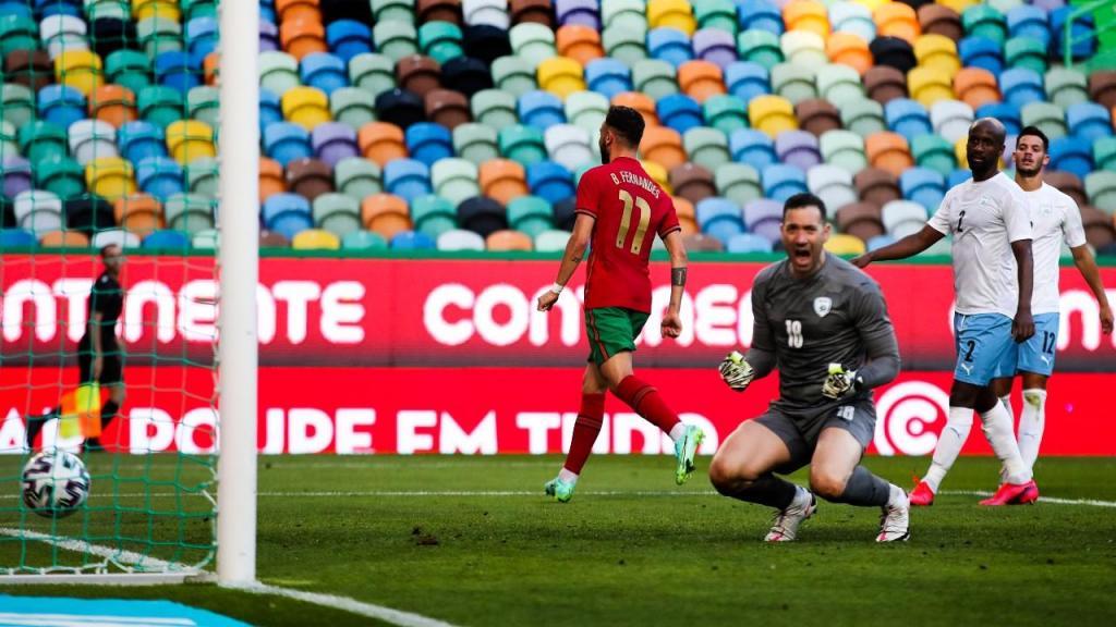 Bruno Fernandes fez o 1-0 no Portugal-Israel (Manuel de Almeida/LUSA)