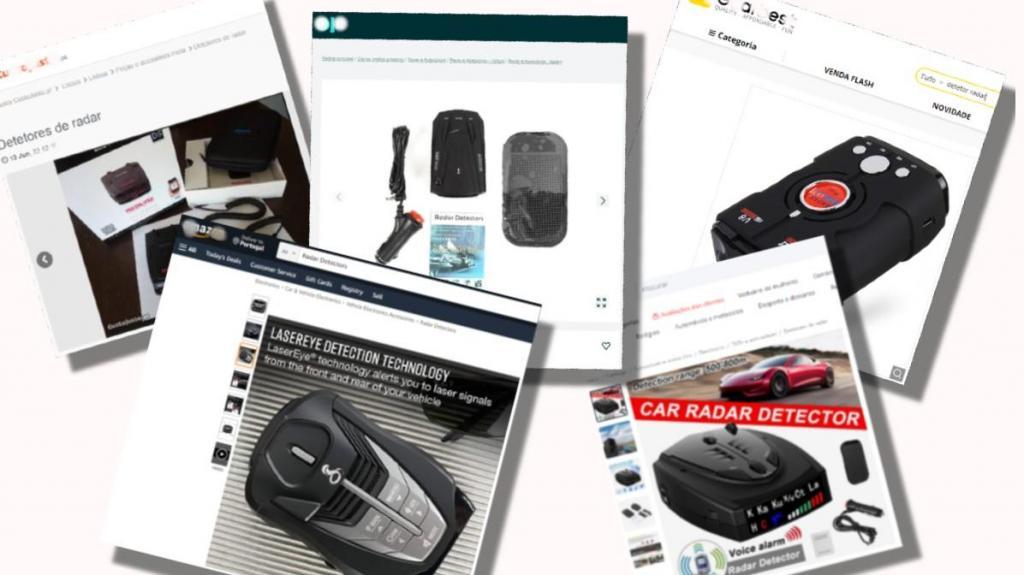 Detetores de radar de velocidade ilegais à venda online (fotomontagem)
