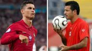 Cristiano Ronaldo e Ali Daei (Lusa)
