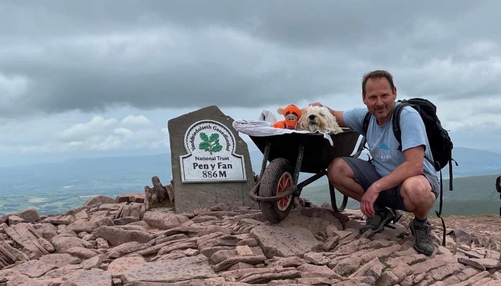 Dono leva cão ao pico da sua montanha preferida para se despedir dele