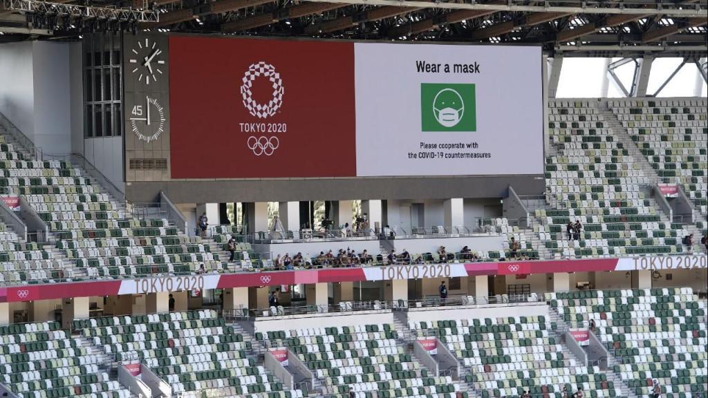 Estádio Nacional do Japão, em Tóquio, para a cerimónia de abertura dos Jogos Olímpicos (Joe Giddens/EPA)