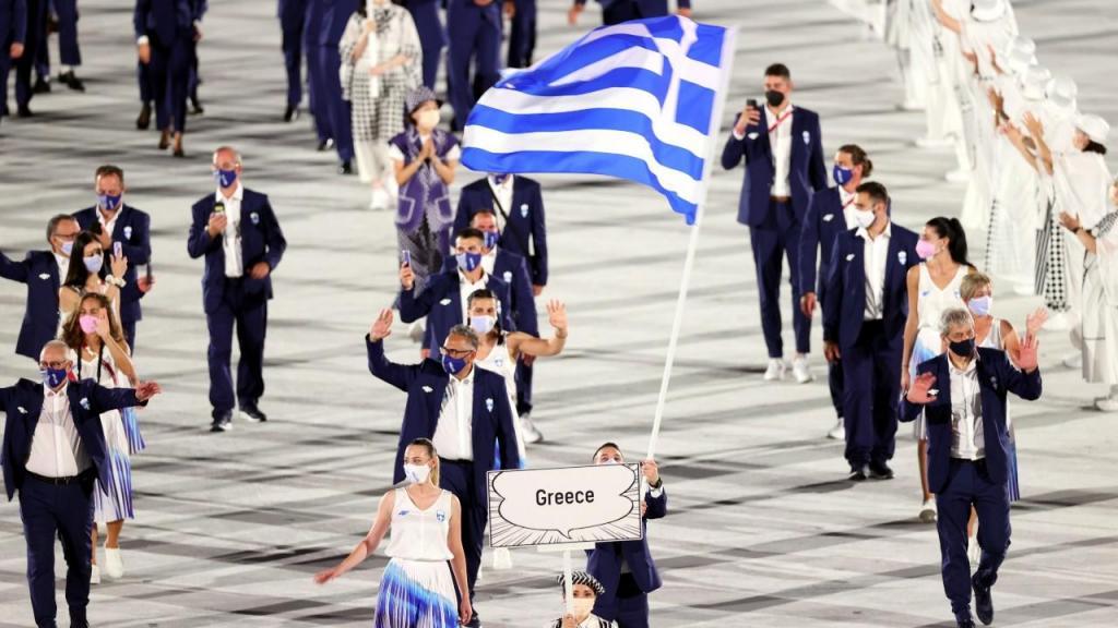 Grécia abriu parada das nações em Tóquio 2020 (Ritchie B. Tongo/EPA)