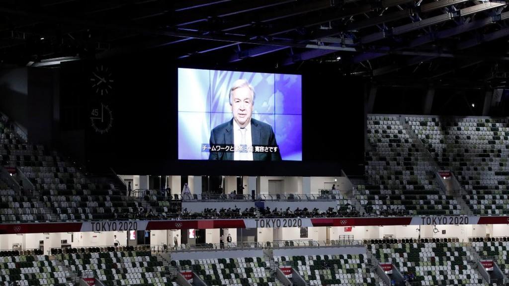 Secretário-Geral da ONU, António Guterres, deixou mensagem na cerimónia de abertura de Tóquio 2020 (Rungroj Yongrit/EPA)