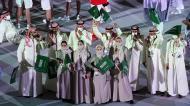 Arábia Saudita na parada das nações em Tóquio 2020 (Joe Giddens/EPA)