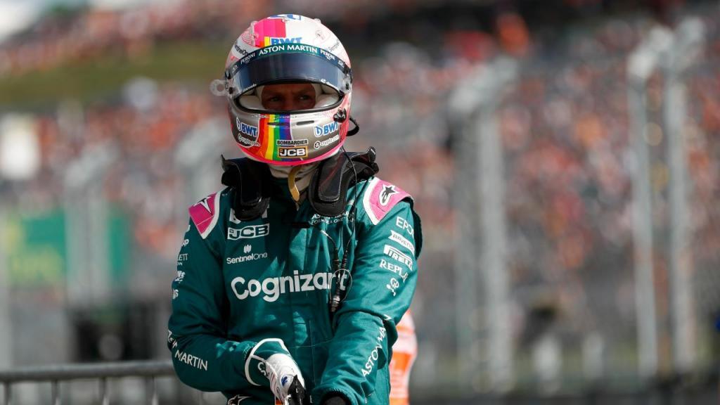 Sebastian Vettel com o arco íris na Hungria (foto AP)