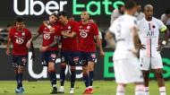 Xeka festeja com Reinildo, Yilmaz e José Fonte o golo que decidiu a Supertaça para o Lille (Atef Safadi/EPA)