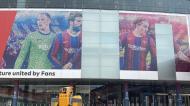 Fachada de Camp Nou sem a imagem de Messi