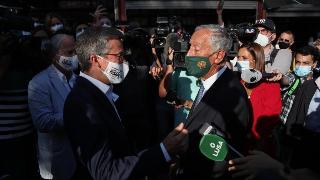 Carlos Moedas e Marcelo Rebelo de Sousa na Feira do Livro