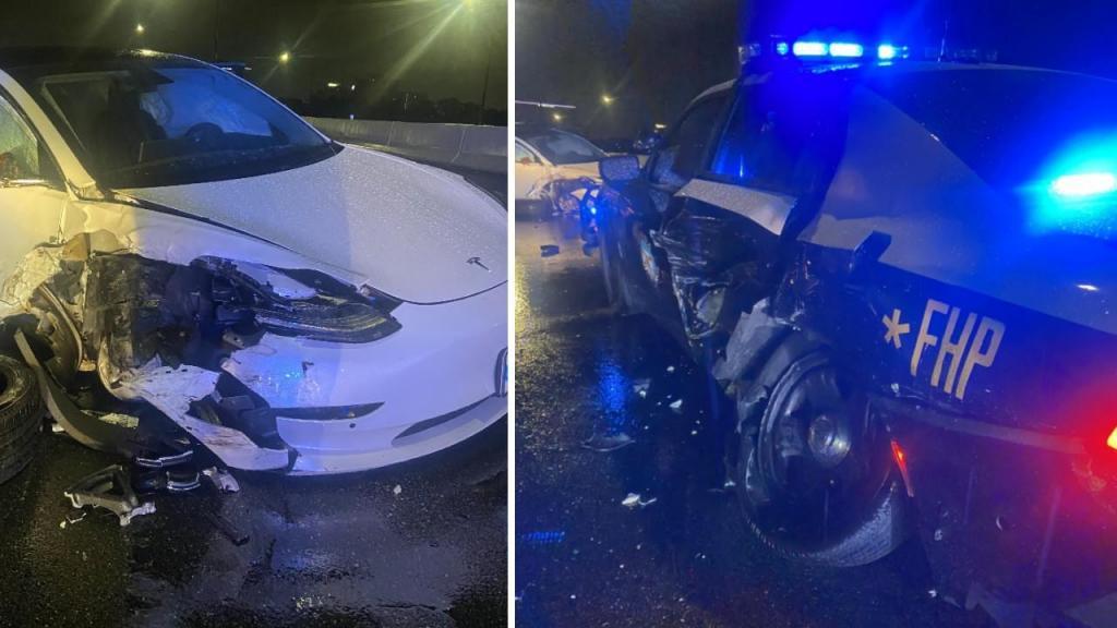 Acidente entre Tesla e carro patrulha (capturas Twitter FHP Orlando)