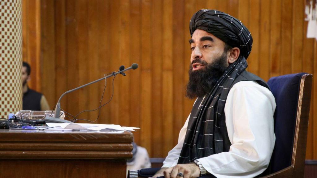Conferência de imprensa de Zabihullah Mujahid, porta-voz dos talibãs