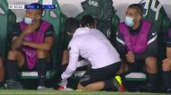 Gonçalo Inácio desolado: central lesionou-se e foi substituído