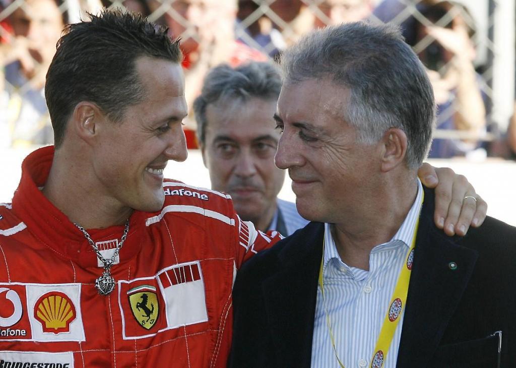 Michael Schumacher e Piero Ferrari (Associated Press)