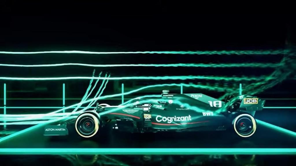 O AMR21 no túnel de vento (captura YouTube  Aston Martin Cognizant Formula One Team)