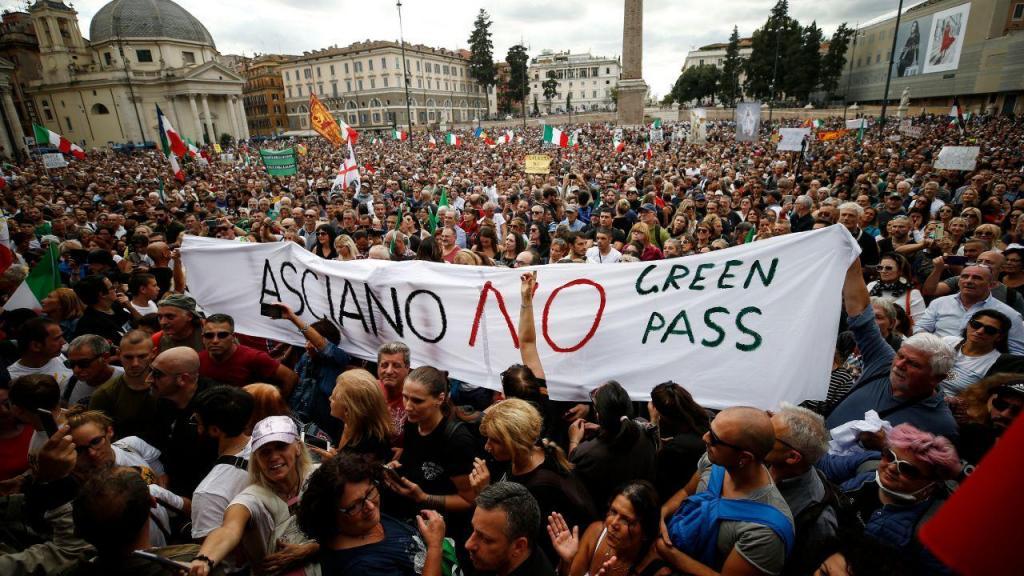 Manifestação em Roma contra medidas sanitárias