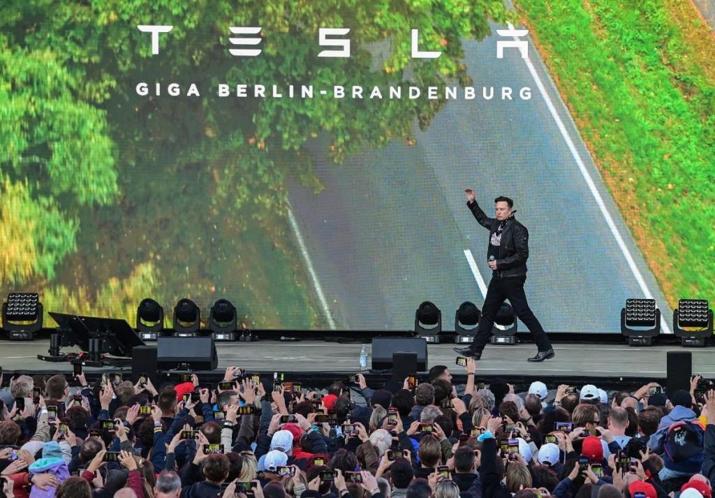Elon Musk na GigaFest de Berlim (Associated Press)