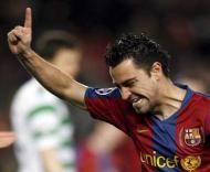 Barcelona-Celtic: Xavi inaugura o marcador (EPA/Xavier Bertral)