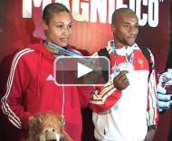 Naide Gomes e Nelson Évora com as medalhas ganhas em Valência PLAY_VIDEO