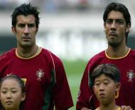Os amigos Figo e Rui Costa na Selecção (foto: Pedro Magalhães)